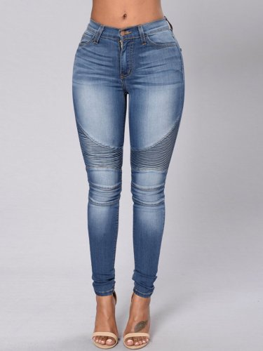 Gradient Pleated Patchwork Pocket Jeans