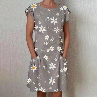 Daisy Print Pocket Cotton Linen Dress 2020 New Fashion Plus Size Button O-Neck Knee Length Party Dresses