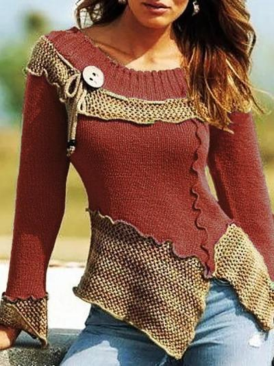 Women Knitted Vintage Shift Plain Sweaters