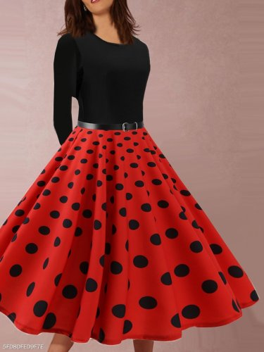 Vintage Black Dots Print Patchwork Long Sleeve Evening Gowns Dresses