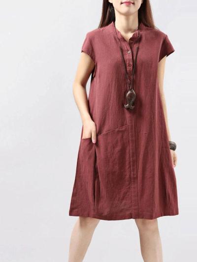 Unique Pocket A-Line Linen Dress