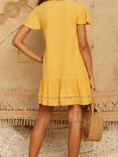 Sweet V Neck Linen Casual Dresses