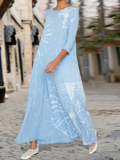 Ombre/tie-Dye Half Sleeve Crew Neck A-Line Dresses