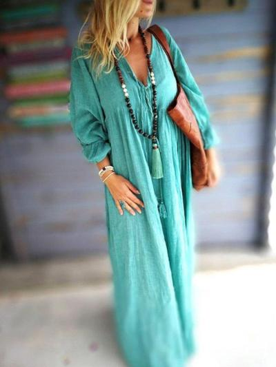 Cotton-Blend Casual Big Hem Dress Solid Dresses
