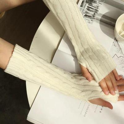 Winter Long Wool Half Finger Gloves Knit Warm New