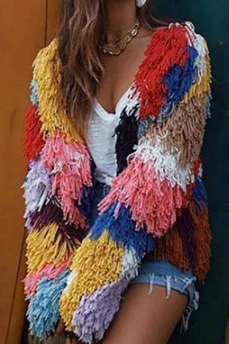 Women's Fashion Long Sleeve Coloring Splicing Tassel Woolen Overcoat