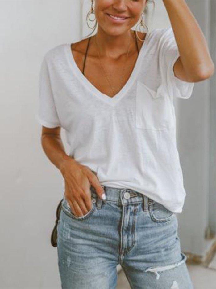 Casual Short Sleeve V neck Pockets Shirts