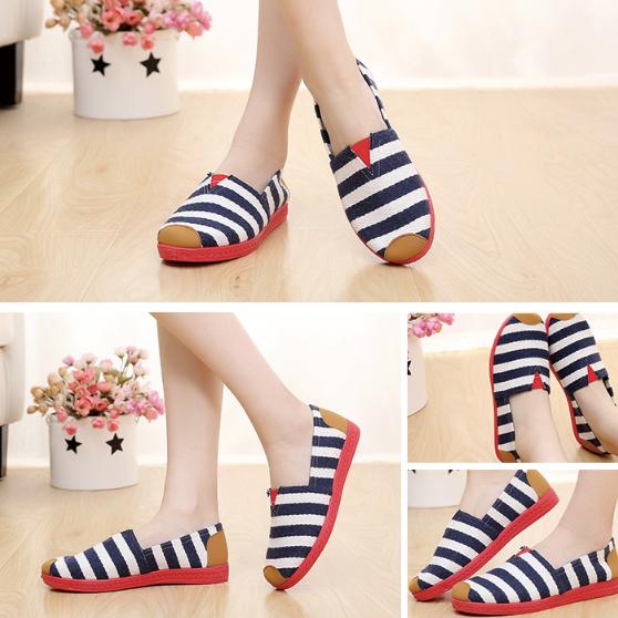 STAR Stripe Canvas Flat Slip On Loafers
