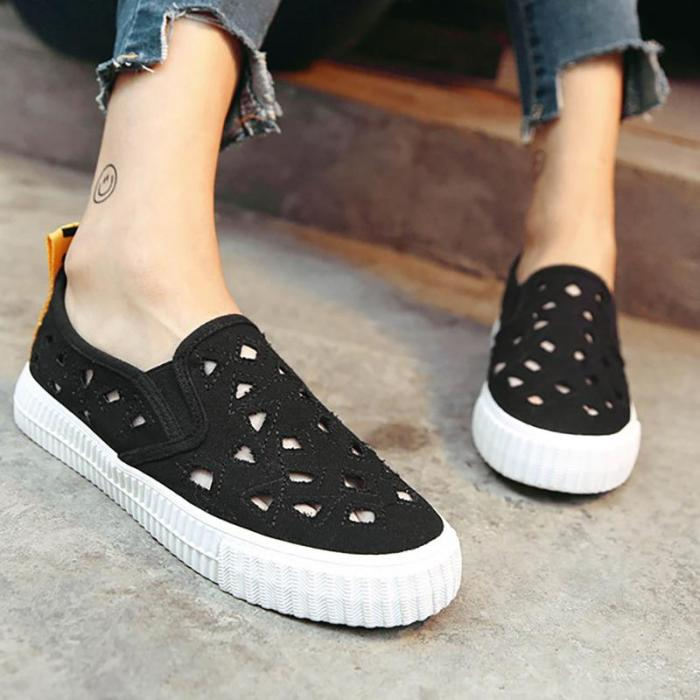 Womens Canvas Flat Heel Casual Hollow Out Shoes