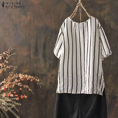 2020 WomenVintage Striped Shirts Female Casual Short Sleeve Baggy Loose V Neck Blouse