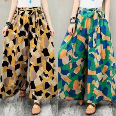 Wide Leg Pants Geometric Printed Vintage Trousers Summer Beach Pants Casual Lace Up Loose Pantalon Long Flare Pants