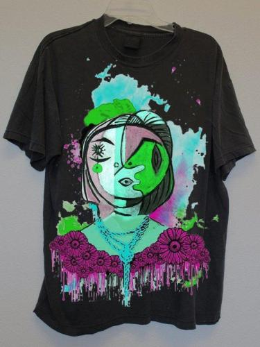 Women's Casual Short Sleeve Crew Neck Abstract  Printed Tops