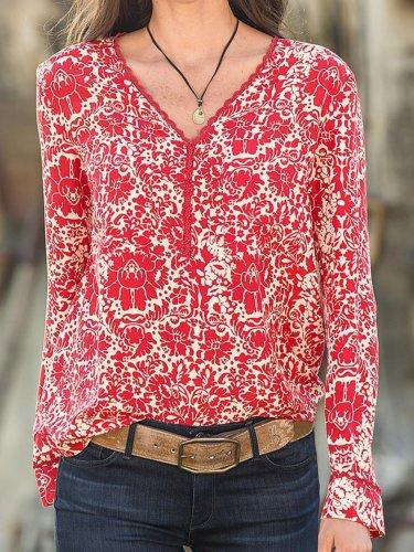 Chiffon Long Sleeve Casual Floral Shirts & Tops