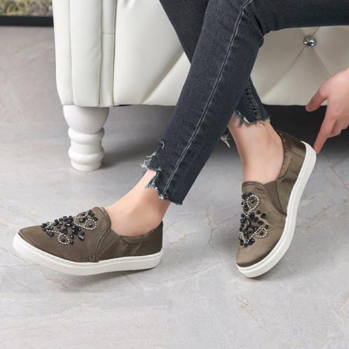 Women Flat Loafers Casual Comfort Rhinestone Slip On Shoes