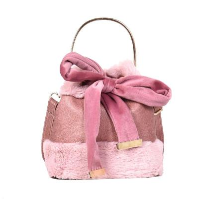 Portable Bow Girls Ladies Small Bag Plush Shoulder Bucket Bag