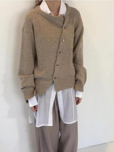 Fashion Irregular Knitwear Slanting Buckle Cardigan