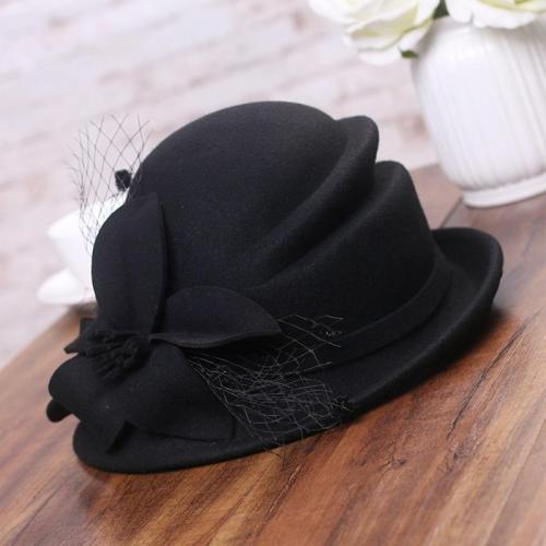 Flower Warm Wool Hat Winter Cap Lady Party Hats
