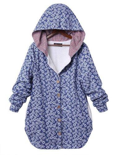 Daisy Printed Hoodie Coat
