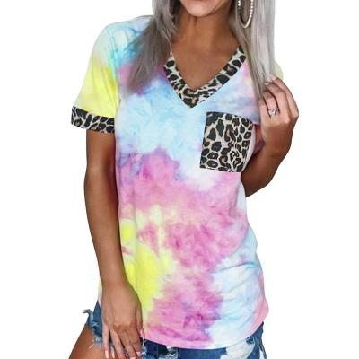 2020 Tie Dye Women's T Shirt Summer Short Sleeve V-neck T-shirts Casual Leopard Stitching Tees Tops Loose T Shirts