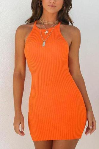 Sexy Rib Sleeveless Mini Bodycon Dress