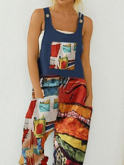Spaghetti-Strap Shift Holiday Abstract Printed Straps Jumpsuit With Pocket