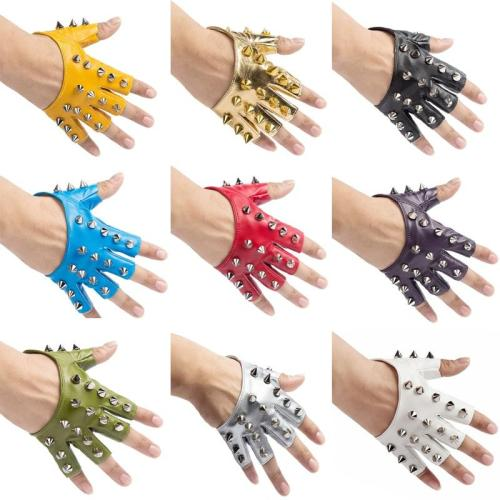 Women's semi-finger hip-hop gloves lady's punk rivet half finger leather gloves sexy dancing gloves R1900