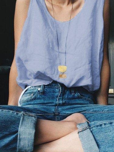 Plain Casual V Neck Sleeveless Shirts & Tops