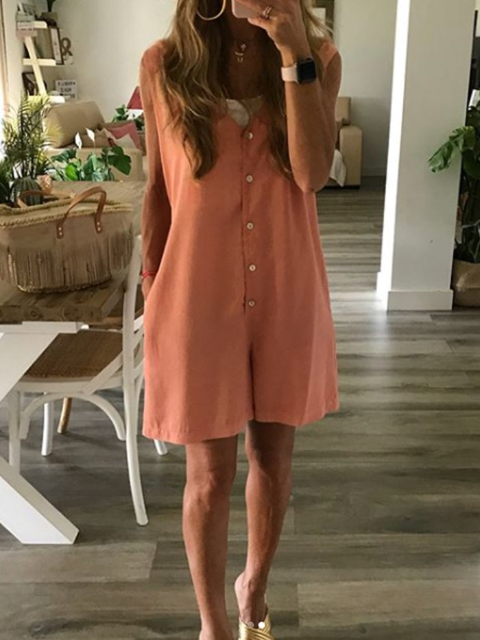 Holiday Buttoned Sleeveless Solid One-Pieces