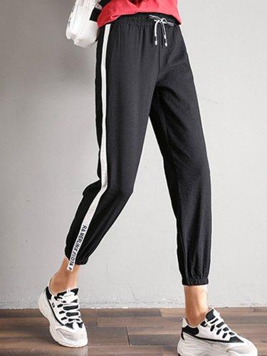 Plus Size Women Cotton Solid Casual Pants