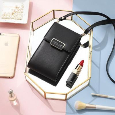 Women Solid Multi-function Phone Crossbody Bag 3 Card Slot Wallet Coin Purse
