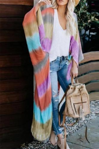 European And American Wind Tie Dyed Thin Sunscreen Cardigan Coat