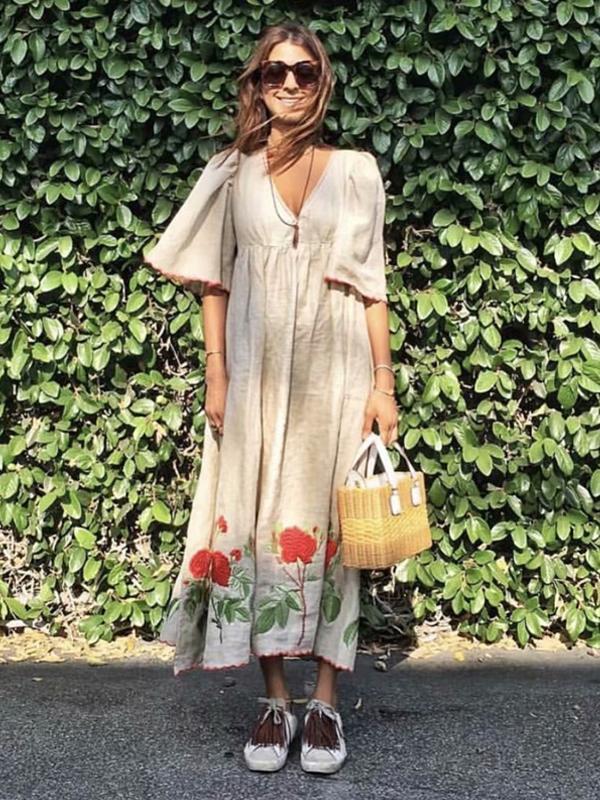 Floral embroidery short sleeve beach Bohemian linen cotton maxi dress