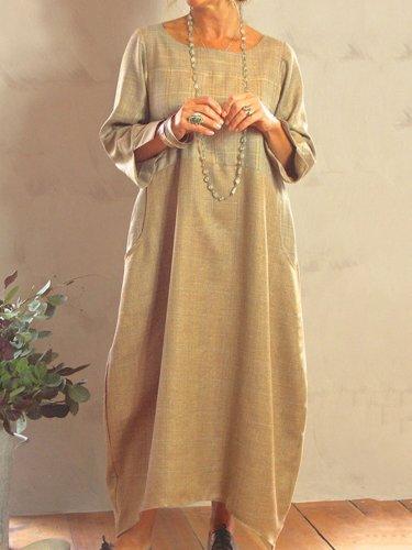 Khaki Cotton-Blend Casual Plain Crew Neck Dresses