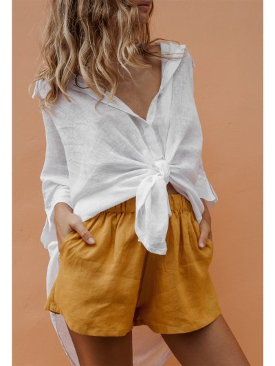 Women's Solid Sweet Elastic waist Pockets Shorts