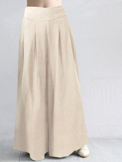 2020 Fashion Wide Leg Pants Summer Loose Solid Long Cotton Linen Trousers