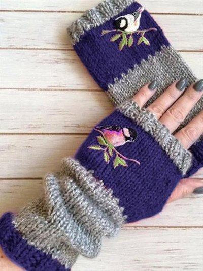 Fashion Warm Stitching Embroidery Gloves