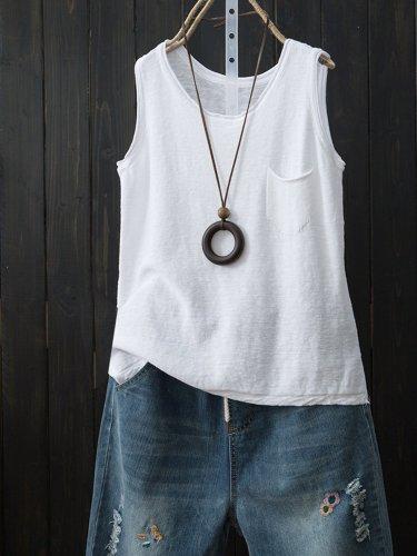 Sleeveless Solid Shirts & Tops