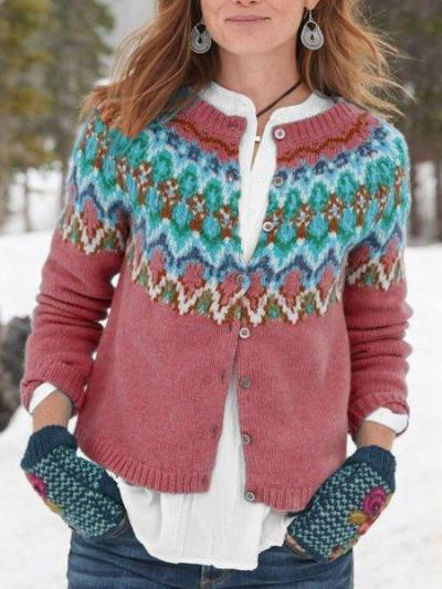 Tribal Long Sleeve Buttoned Cotton Cardigan