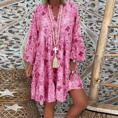 Flower Print Women Long Blouses Shirt Vintage V Neck Ruffles Womens Casual Dresses Plus Size