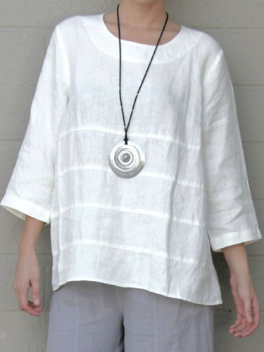 3/4 Sleeve Ruffled Casual T-Shirt