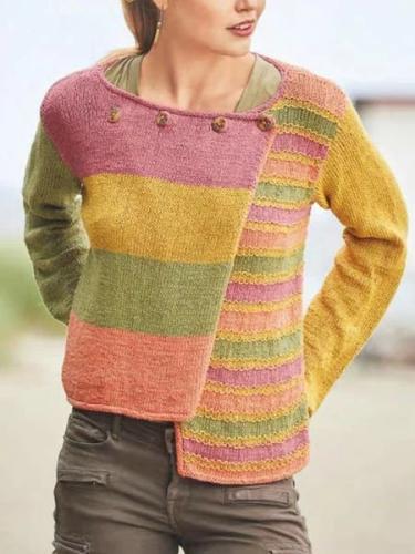 Casual Color-Block Cotton Outerwear