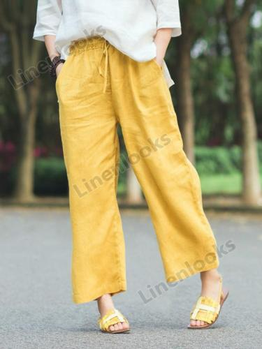 Retro Loose Lace-up Casual Cotton and Linen Wide Leg Pants Women
