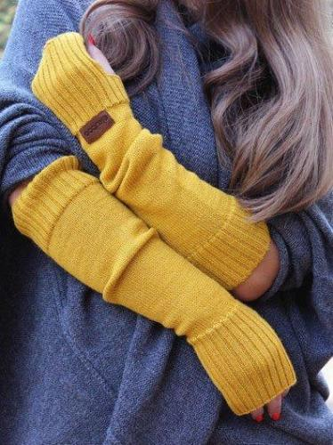 Yellow Sweet Cotton-Blend Gloves & Mittens