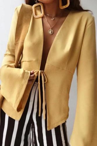 Fashion Long Sleeve Pure Colour Shirt Coat