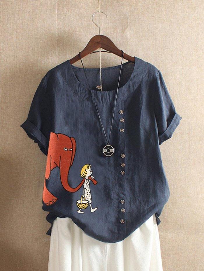 Short Sleeve Cotton Crew Neck Shirts & Tops