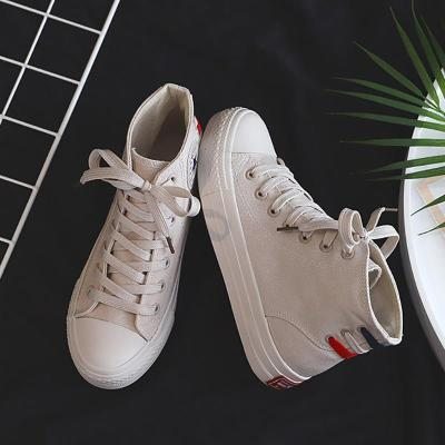 Vintage Women Solid Color High Canvas Sneakers