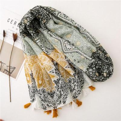 Women hijab scarf long Ethnic green Patchwork Viscose Shawl Scarf Tassel