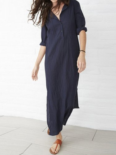 Dark Blue Casual Slit Plus Size Dress