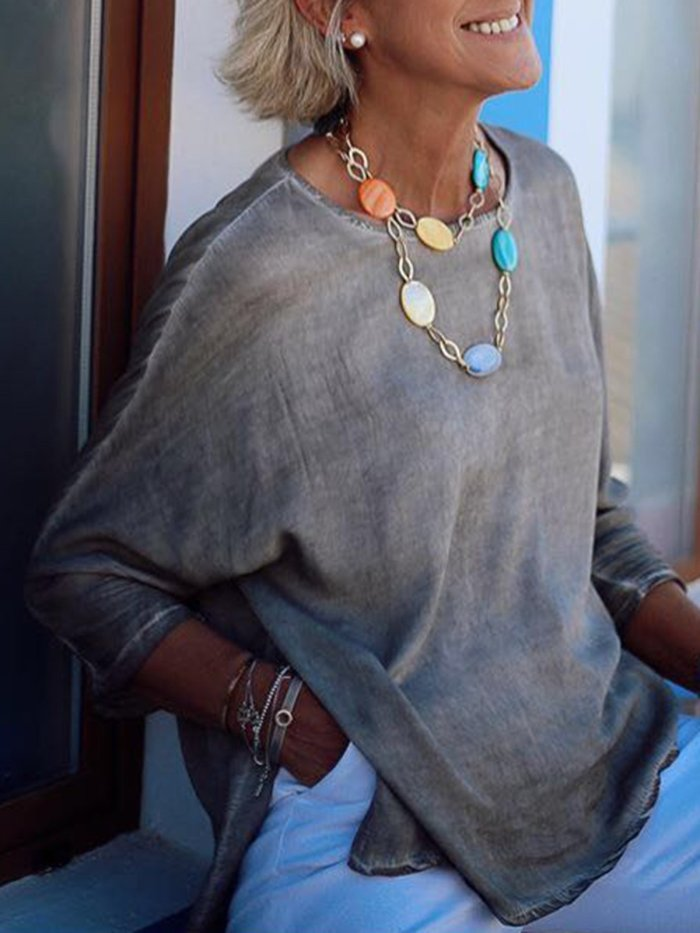 Gray Casual Paneled Shirts & Tops