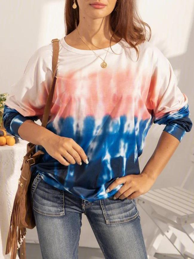 Women's Plus size Tie-dye Long-sleeved Top